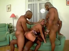 Blacks gangbang this naughty stockings slut