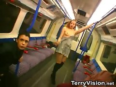 Babes in London subway flash titties