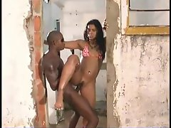 Big cock fucks Brazilian bikini girl outdoors