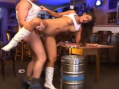 Cute petite brunette fucked in bar