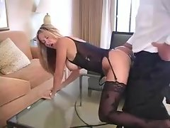 Lingerie and stockings on hot wife in hotel room