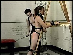 Bound girl is flogged painfully