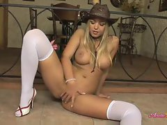 Anette Dawn strips from cute cowgirl dress