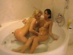 Amazing lesbians have sex  in the tub