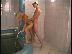 Young man fucks mature outside hot tub