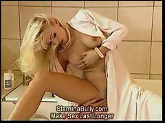 Nurse is fucked while a blonde masturbates
