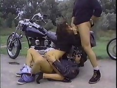 Biker dudes fuck this slut outdoors