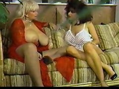 Two huge tit retro pornstars playing