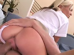 Blonde schoolgirl eaten out and fucked