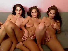 Naked triplets do a webcam show
