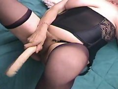 Old lady using toy and then his cock