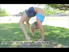 Jessica _ Amateur blonde showing us her flexible body outdoors