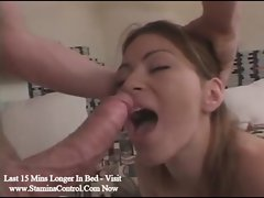 Deep blowjob and intense vaginal sex