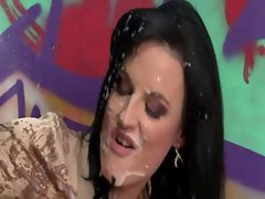 Slut gets a slimewave of cum from gloryhole fake dick