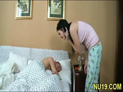 Horny couple begins with kissing then girl