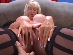 Busty Cougar Brittany O Neil in lingerie, stockings and heels