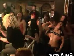 Naughty chicks share stripper s dick at party
