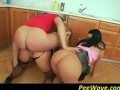 Whores sharing fresh pee in kitchen