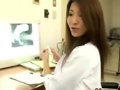 Asian hairy nurse handjob and cumshot