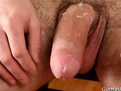 Hairy pierced guy jerking off his cock part1