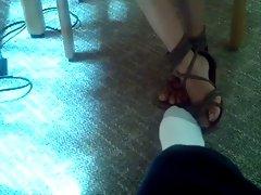 teen library footsie yery cute hot feet