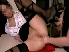 Sexy woman fist fucked hard in both pussy and ass