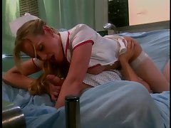 Busty brunette nurses gets pussy licked by patient