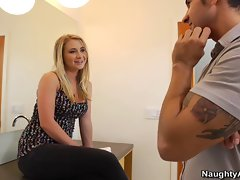 Horny Blonde Girl Seduces Her Boyfriends Friend In Bathroom