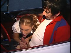 Horny schoolgirl gets drilled outside near the car