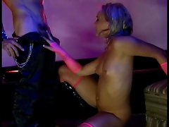 Bitchy blonde with small tits fucks bald guy with strap on