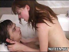 Hot gals undress their boyfriend