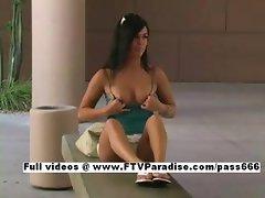 Priscilla tender cute woman public flashing