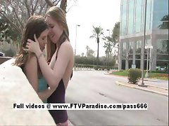 Anna and Amber tender horny lesbians kissing