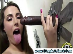 Brunette hottie sucks dick