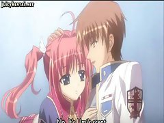 Tiny anime babe with pink panties eats cock and gets drilled