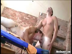Guy sucking on his masseuses dick