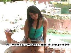 Stunning Christy petite brunette girl public posing