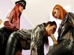 Glamorous lesbians play bukkake game with toy