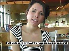 Stunning Michaela Stunning petite schoolgirl talking in public