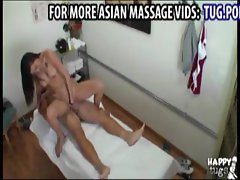 Sweet Asian masseuse riding cock