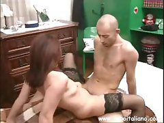 Brunette Italian mature eats his cock and then rides on it