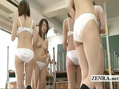 Japanese schoolgirls clean bottomless and then naked