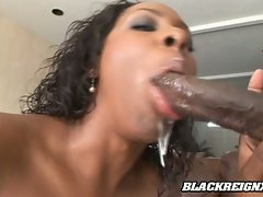 Horny hot Miss Platinum gives her lover a gagging blowjob she's really good at