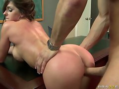 Lusty beautiful Rachel Roxx is making her man's dick harder to handle behind