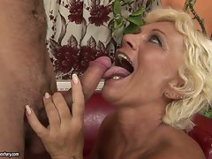 Horny grandma goes crazy hot with a young man's throbbing cock