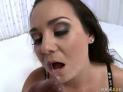 Brunette whore Holly West gets a rich load of popshot on her mouth