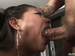 Scorching hot Yoha gets her deep throat destroyed by a juicy monster prick