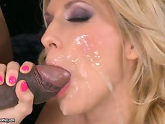 Lusty whore gets her face glazed with fresh goo after getting banged hard