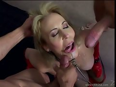 Filthy whore Erica Lauren receives a rich load of cock spurt on her mouth
