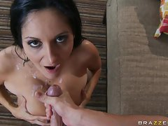 Alluring Ava Addams awaits a nice hot spurt of cock sauce on her slutty face